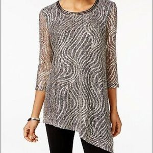 JM Collection | party time metallic swirl top